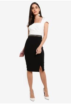 b107423cc7 Lipsy Mono Square Neck Chain Waist Dress S  130.90. Sizes 6 8 10 12 14