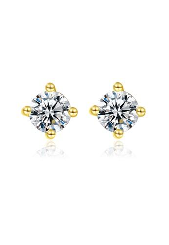SUNRAIS gold High quality Silver S925 gold simple design earrings F5FD5ACA8BD9A4GS_1