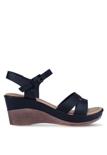 Bata navy Strappy Wedges 80340SH9FBCA4AGS_1