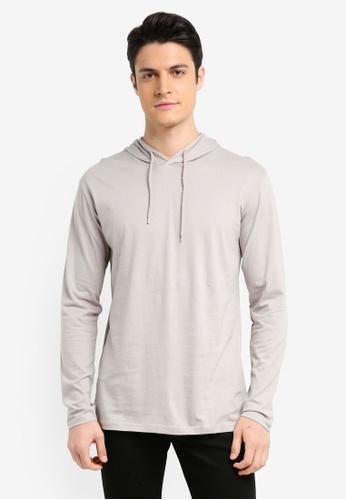 Factorie grey Long Sleeve Hoodlum T-Shirt B5004AA071B84AGS_1