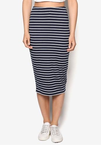 ZALORA white Basics Striped Midi Skirt ANSZLAA0000082GS_1
