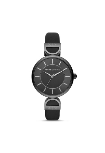 Armani Exchange black Armani Exchange Three-Hand Black Leather Watch AX5378 7979EAC9055DA0GS_1