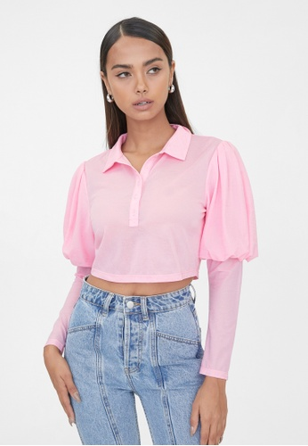 Pomelo pink Puffed Sleeves Polo Crop Top - Pink 189AEAA3B0D822GS_1
