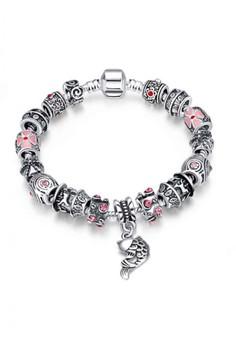 PDRH011 Sagittarius DIY Bracelet Fish Pattern Beads & Pendant Imitation Ruby(Silver Pleated)