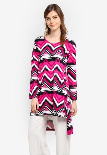 Aqeela Muslimah Wear pink Side Slit Fishtail Top AQ371AA0S4WBMY_1