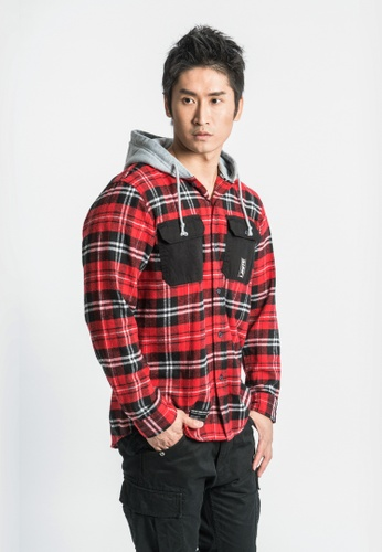L.I.M.I.T.E red Cotton Flannel Check Shirt with Hood A971BAAE85C13CGS_1