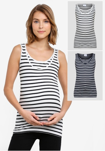 0cf793a9b8a Mama.licious black and white and navy Nursing Lea Organic Nell 2 Pack Tank  Top