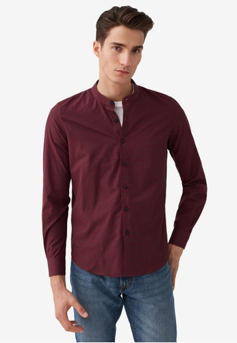 OVS red Slim-Fit Shirt With Mandarin Collar 91CCAAA513029BGS_1