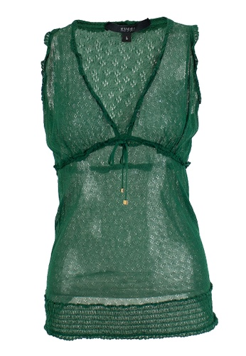 Gucci green Pre-Loved Gucci Green Cotton Knit Sleeveless Top with Pull-Tie At Bust and Smocked Hem 4390DAAB79E634GS_1