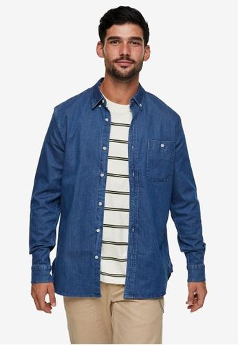Topman blue Indigo Denim Stretch Shirt 8B1B6AAF8E6AE5GS_1