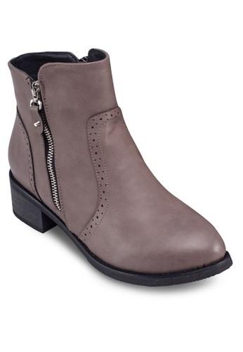 拉鍊雕花踝靴,esprit 高雄 女鞋, 鞋