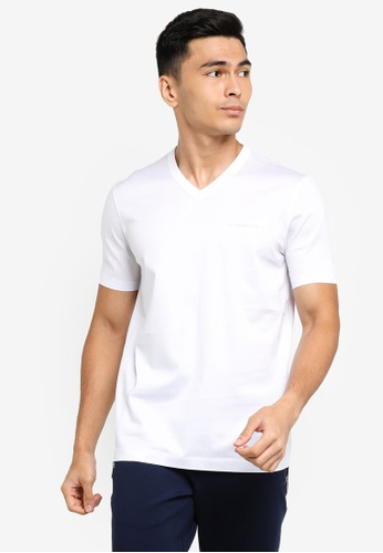 ck Calvin Klein white DOUBLE MERCERISED COTTON V NECK TOP WITH LUREX LOGO 42864AAA6C96FCGS_1