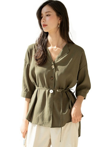 Sunnydaysweety green Light Mature V-Neck Mid-Sleeve Drawstring Waist Cardigan Top A21031204GR 45C4BAAE5627B5GS_1