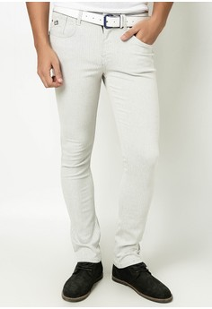 White Warf Colored Weft Pants