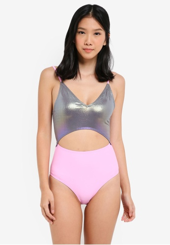 South Beach pink and multi and silver Riley Irridescent Solid Cut Out Midriff Swimsuit B7D30US063141FGS_1