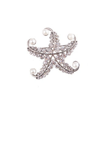 Glamorousky white Simple and Bright Starfish Imitation Pearl Brooch with Cubic Zirconia 1D816ACAF4A806GS_1