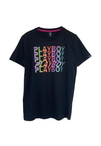 Playboy Apparel black Glitch Hi-Den Black T-Shirts 56DD2AA75619A0GS_1