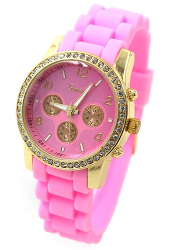 World of Watches pink Geneva Marisse Women's Silicon Strap Watch WO566AC07CBSPH_1