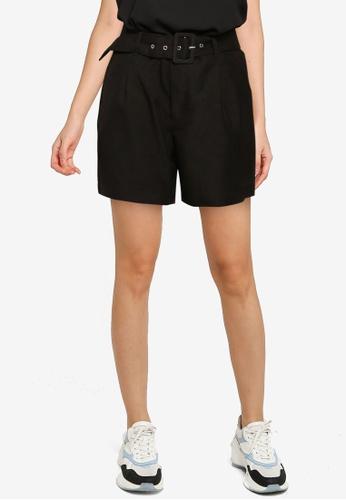 JACQUELINE DE YONG 黑色 High 腰圍 Wide 腰帶 短褲 06F9BAA74D25F9GS_1
