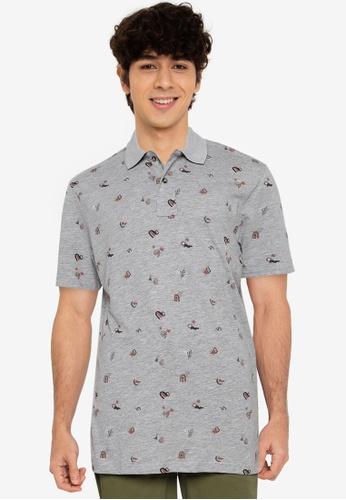 Springfield grey All-Over Print Polo Shirt 7E509AA5584A59GS_1