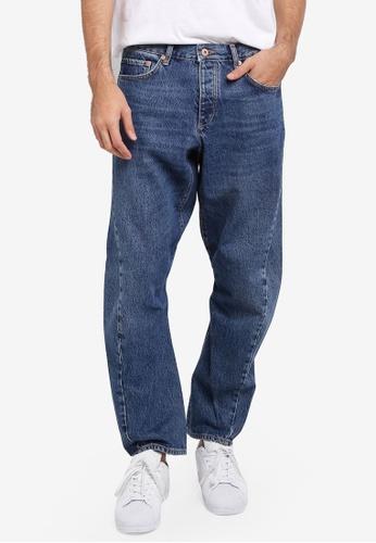 Topman blue Dark Wash Twisted Leg Jeans TO413AA0SR8YMY_1