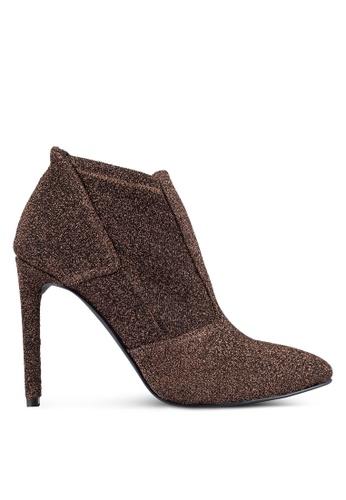 ZALORA brown Glitter Ankle Boots 43576ZZD7112D8GS_1