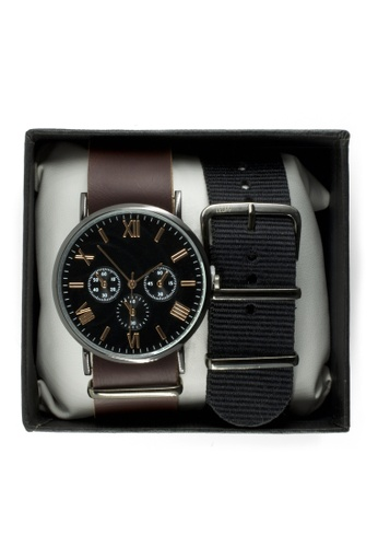 LEUPP black and brown Haru Watch w/ Interchangeable Leather and Canvas Nato Straps TO983AC06PGFPH_1