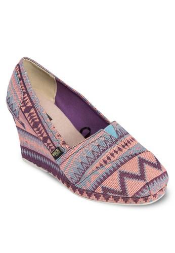 Karla 民族風圓頭楔形esprit地址鞋, 女鞋, 中跟