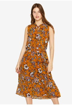 24d7663574a5 ESPRIT multi and brown Printed Pleated Dress 6C343AAC5C3E7BGS_1