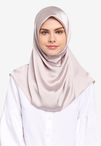 Najjah beige Satin Silk Square Hijab NA225AA0SR66MY_1