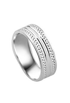 Beaded Edge Border Couple Ring