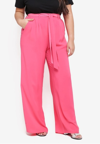 ELVI pink Plus Size Pyrene Wide Leg Trousers With Double Ties 40070AA2197C1AGS_1