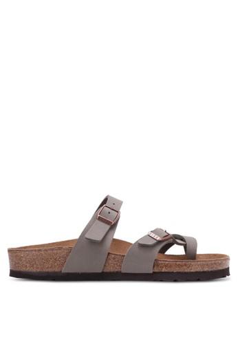 Birkenstock grey Mayari Birko-Flor Nubuck Sandals BI090SH0RTI9MY_1