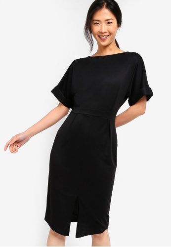 ZALORA BASICS black Basic Drop Shoulder Dress 07FC1AA93515C1GS_1
