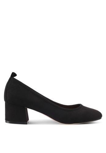 ZALORA 黑色 經典麂皮粗跟高跟鞋 3BD29SHC74D7DEGS_1