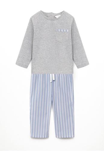 MANGO BABY grey Striped Long Pyjamas 4A822KA40CDF39GS_1