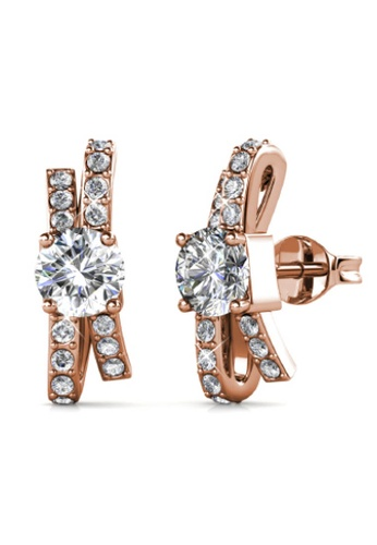Her Jewellery gold Crystaline Bow Earrings (Rose Gold) - Made with premium grade crystals from Austria B4FB4ACF7A7F6AGS_1
