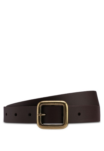 Topman brown Skinny Leather Belt With Brushed Gold Buckle Detailing In Brown 4033AAC2FF9F5DGS_1