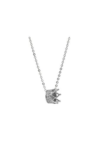 LYCKA silver LDR1358 S925 Silver Sparkling Crown Necklace 610FAAC9A13219GS_1