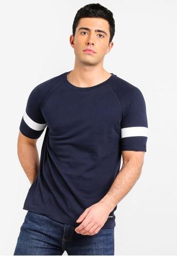 Calvin Klein 海軍藍色 條紋T恤 DAE51AAD697576GS_1
