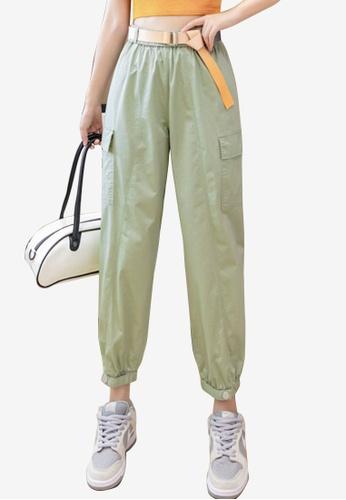 Zafiti green Women's Korean Style Elastic Waist Ankles-tied Cargo Pant With Stylish Belt - Green C6FA2AA0EAFEB8GS_1