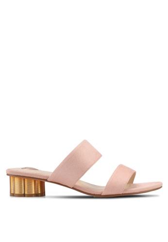 Velvet beige Double Strap Slip On Heels 75B1ESHF922094GS_1