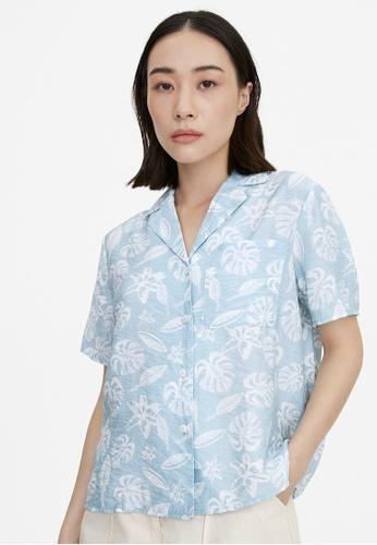 Pomelo blue Tropical Print Button Up Shirt - Blue CDBFEAA8BBBFB1GS_1