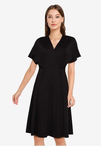 ZALORA WORK black Oversized Wrap Dress 59317AA68502ACGS_1