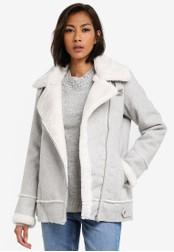 Dorothy Perkins grey Grey Shearling Aviator Coat DO816AA0SB7GMY_1