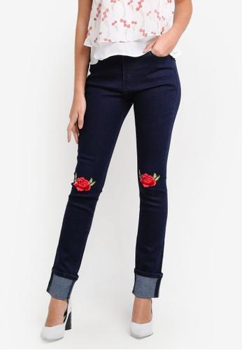 Something Borrowed blue Knee Patch Slim Fit Jeans E6EA8ZZ33E0CFCGS_1