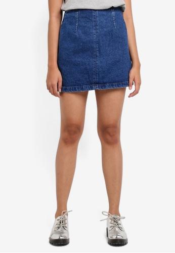 TOPSHOP blue Moto Denim A-Line Skirt D9209AA8ED36CCGS_1