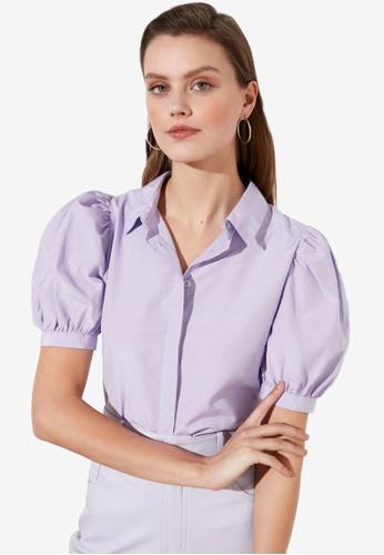 Trendyol purple Basic Puff Sleeve Shirt 25EFDAA8D784E1GS_1