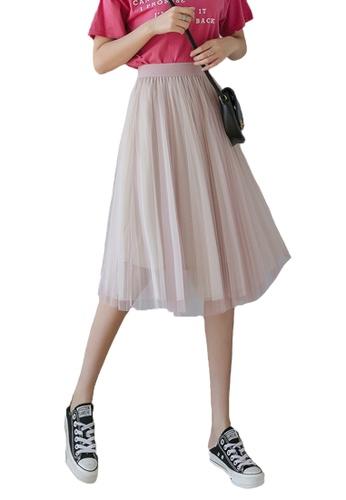 Halo pink Layered Net Yarn Midi Skirt 85246AA1680FC7GS_1