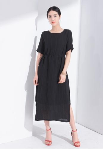 Zafiti black Fake Two-piece Linen Dress C54EDAA696D122GS_1